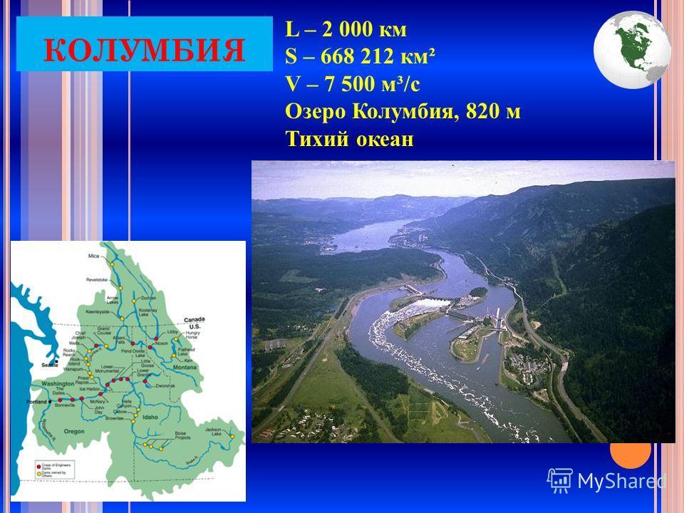 L – 2 000 км S – 668 212 км² V – 7 500 м³/с Озеро Колумбия, 820 м Тихий океан КОЛУМБИЯ