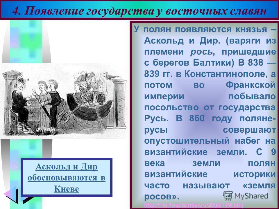 Меню У полян появляются князья – Аскольд и Дир. (варяги из племени рось, пришедшие с берегов Балтики) В 838 839 гг. в Константинополе, а потом во Франкской империи побывало посольство от государства Русь. В 860 году поляне- русы совершают опустошител