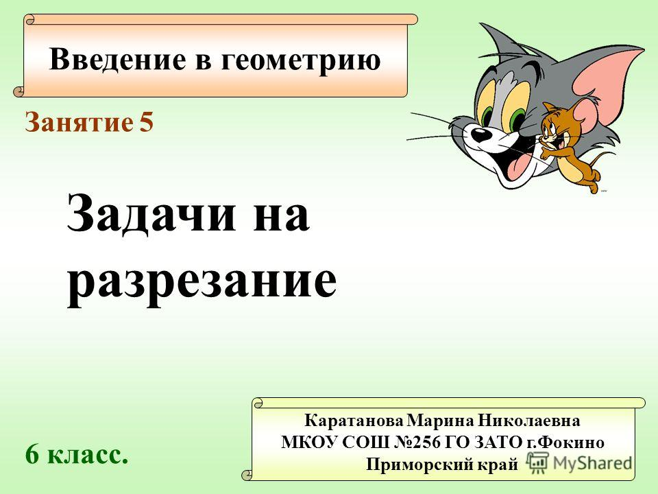 Введение в геометрию Каратанова Марина Николаевна МКОУ СОШ 256 ГО ЗАТО г.Фокино Приморский край Занятие 5 Задачи на разрезание 6 класс.