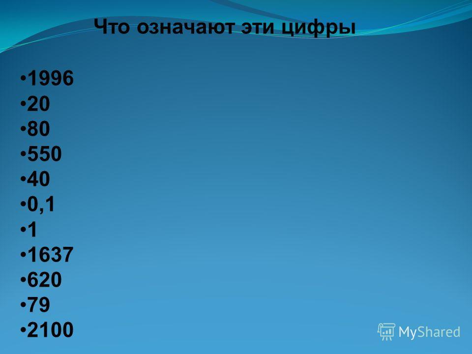 Что означают эти цифры 1996 20 80 550 40 0,1 1 1637 620 79 2100