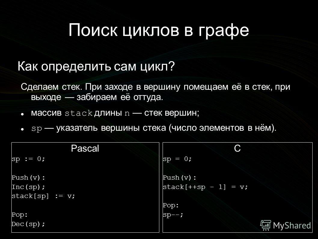 Поиск циклов в графе Как определить сам цикл? Сделаем стек. При заходе в вершину помещаем её в стек, при выходе забираем её оттуда. массив stack длины n стек вершин; sp указатель вершины стека (число элементов в нём). Pascal sp := 0; Push(v): Inc(sp)