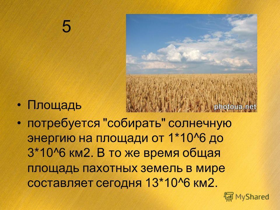 5 Площадь потребуется собирать солнечную энергию на площади от 1*10^6 до 3*10^6 км2. В то же время общая площадь пахотных земель в мире составляет сегодня 13*10^6 км2.
