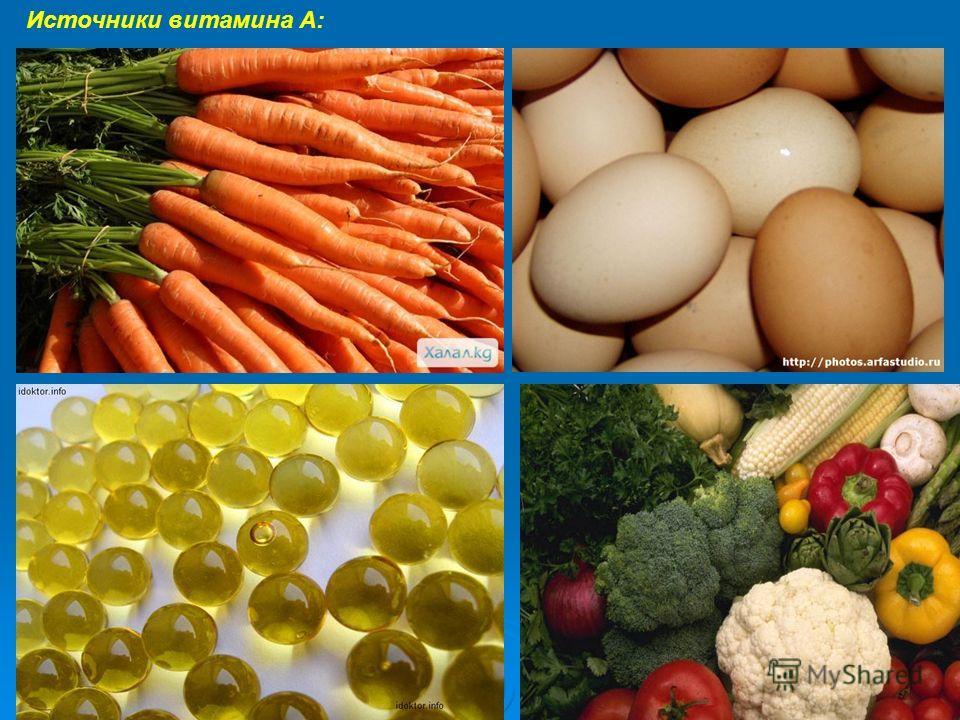 Источники витамина А: