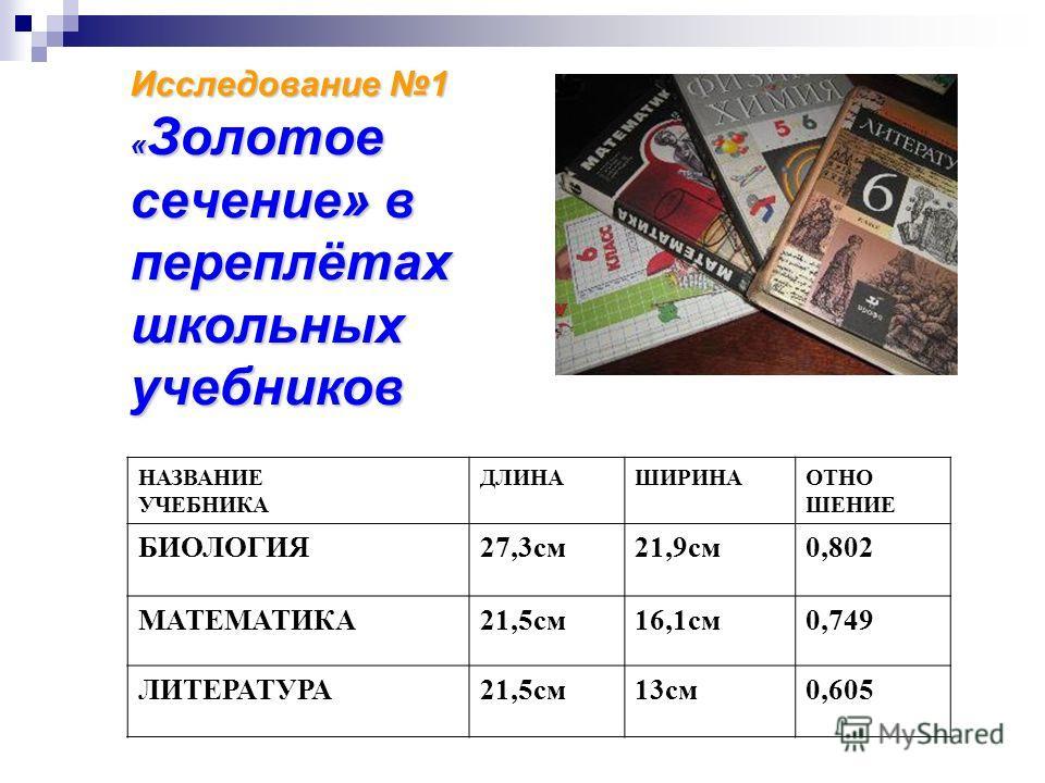 Исследование 1 « Золотое сечение» в переплётах школьных учебников НАЗВАНИЕ УЧЕБНИКА ДЛИНАШИРИНАОТНО ШЕНИЕ БИОЛОГИЯ27,3см21,9см0,802 МАТЕМАТИКА21,5см16,1см0,749 ЛИТЕРАТУРА21,5см13см0,605