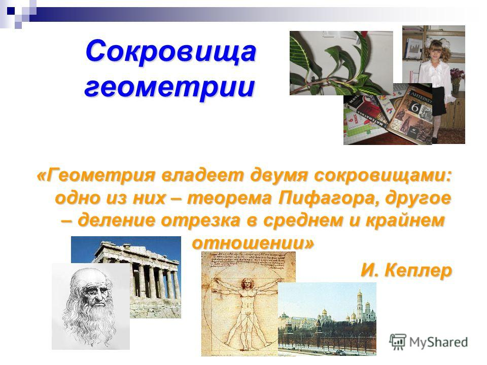 Сокровища геометрии «Геометрия владеет двумя сокровищами: одно из них – теорема Пифагора, другое – деление отрезка в среднем и крайнем отношении» И. Кеплер И. Кеплер