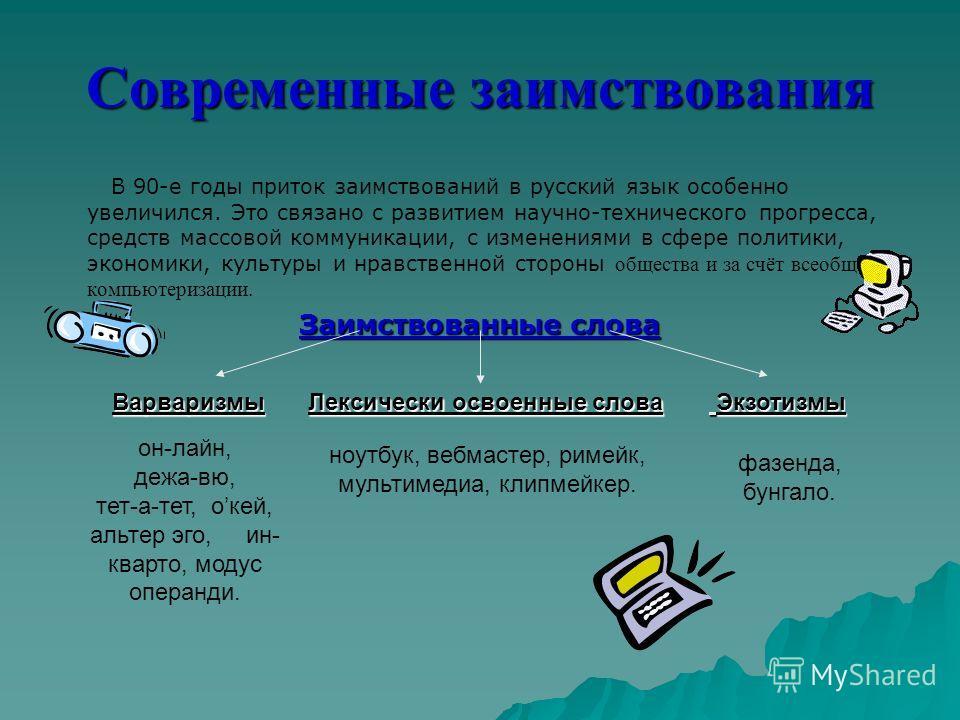 Современные заимствования В 90-е годы приток заимствований в русский язык особенно увеличился. Это связано с развитием научно-технического прогресса, средств массовой коммуникации, с изменениями в сфере политики, экономики, культуры и нравственной ст