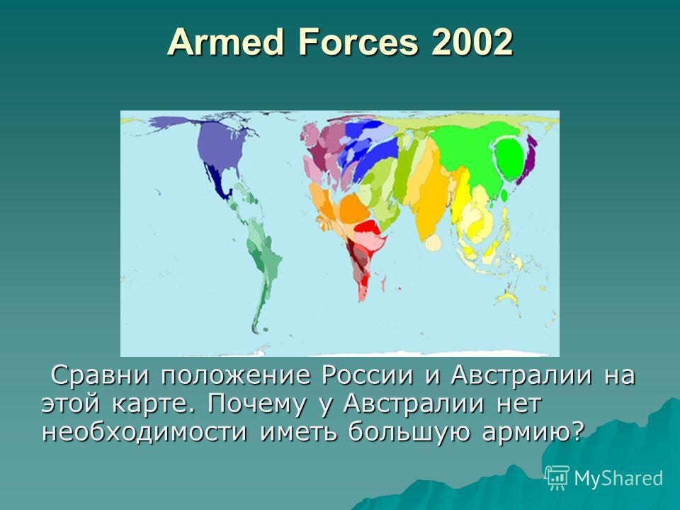 Armed Forces 2002 Сравни положение России и Австралии на этой карте. Почему у Австралии нет необходимости иметь большую армию? Сравни положение России и Австралии на этой карте. Почему у Австралии нет необходимости иметь большую армию?