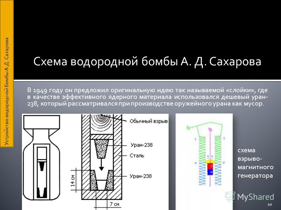 Схема водородной бомбы А. Д. Сахарова В 1949 году он предложил оригинальную идею так называемой «слойки», где в качестве эффективного ядерного материала использовался дешевый уран- 238, который рассматривался при производстве оружейного урана как мус