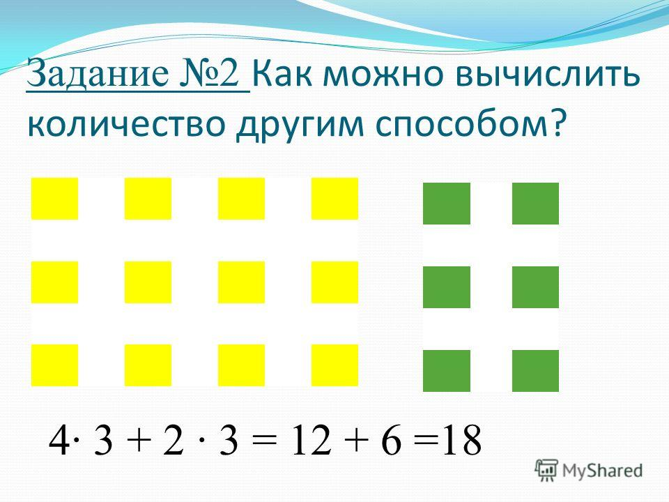 Задание 2 Как можно вычислить количество другим способом? 4· 3 + 2 · 3 = 12 + 6 =18
