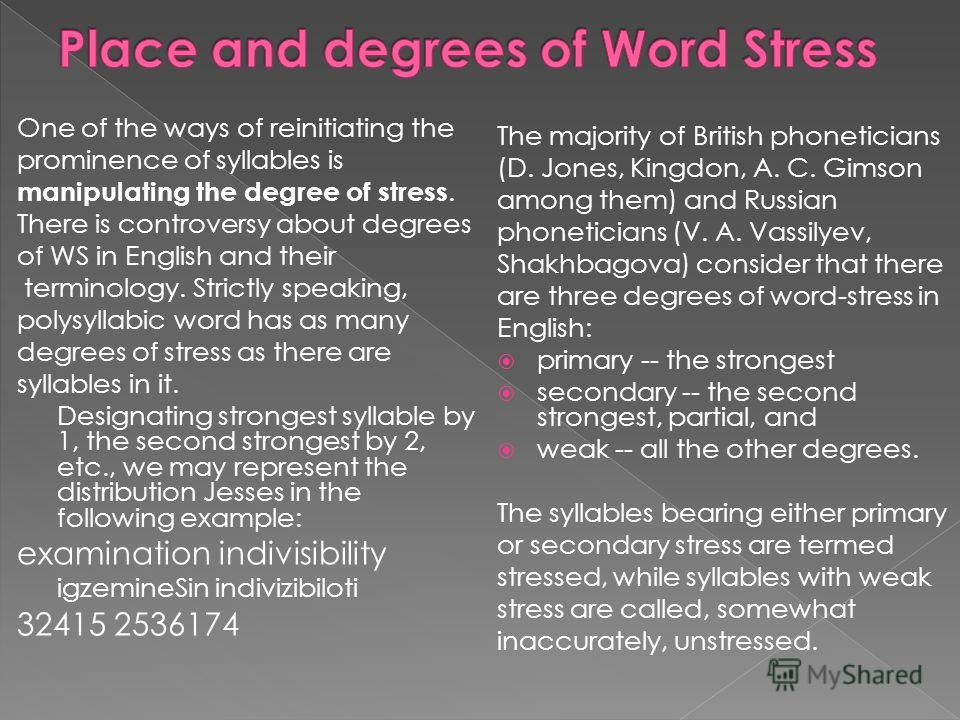 One of the ways of reinitiating the prominence of syllables is manipulating the degree of stress. There is controversy about degrees of WS in English and their terminology. Strictly speaking, polysyllabic word has as many degrees of stress as there a