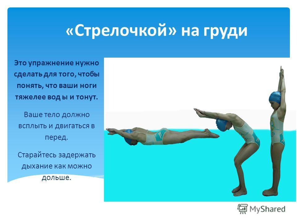 « Стрелочкой» на груди Это упражнение нужно сделать для того, чтобы понять, что ваши ноги тяжелее вод ы и тонут. Ваше тело должно всплыть и двигаться в перед. Старайтесь задержать дыхание как можно дольше.