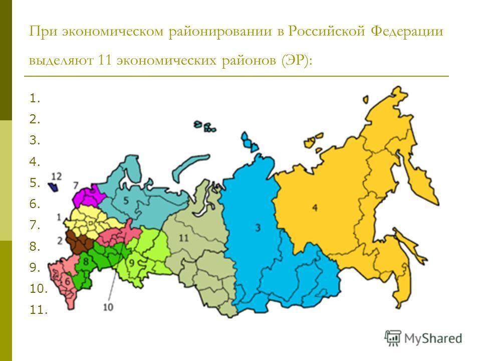 При экономическом районировании в Российской Федерации выделяют 11 экономических районов (ЭР): 1. Центральный Центральный 2. Центрально-Чернозёмный Центрально-Чернозёмный 3. Восточно-Сибирский Восточно-Сибирский 4. Дальневосточный Дальневосточный 5.