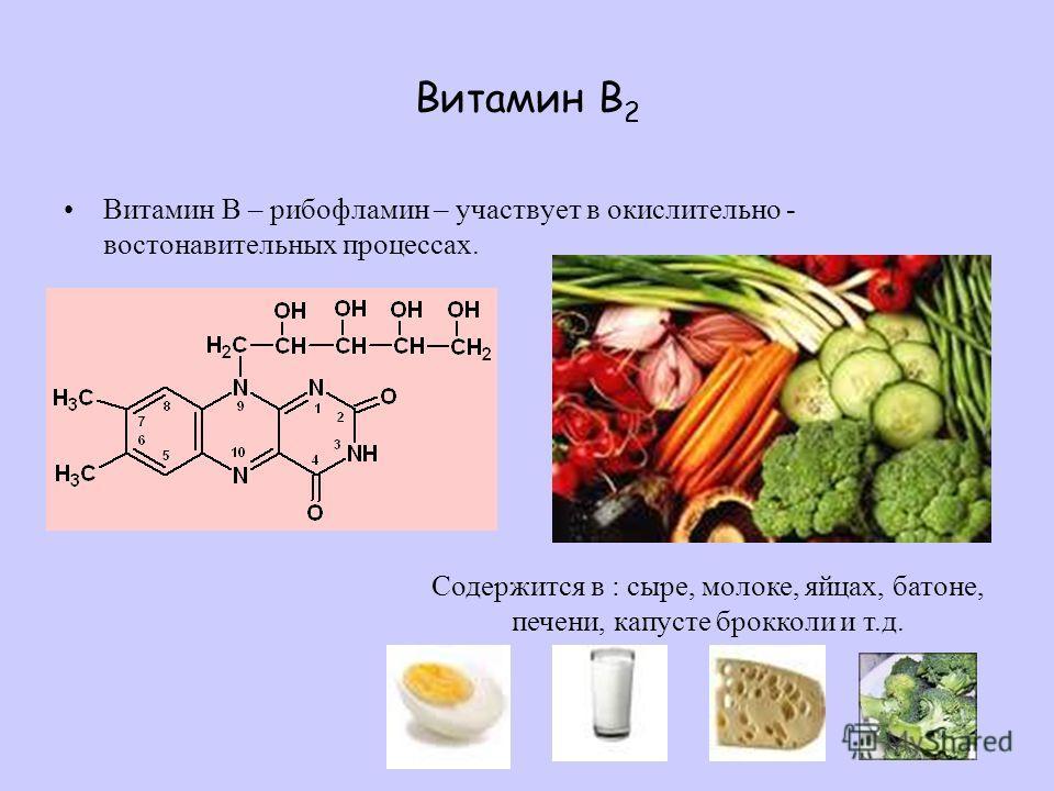 Витамин В 2 Витамин В – рибофламин – участвует в окислительно - востонавительных процессах. Содержится в : сыре, молоке, яйцах, батоне, печени, капусте брокколи и т.д.