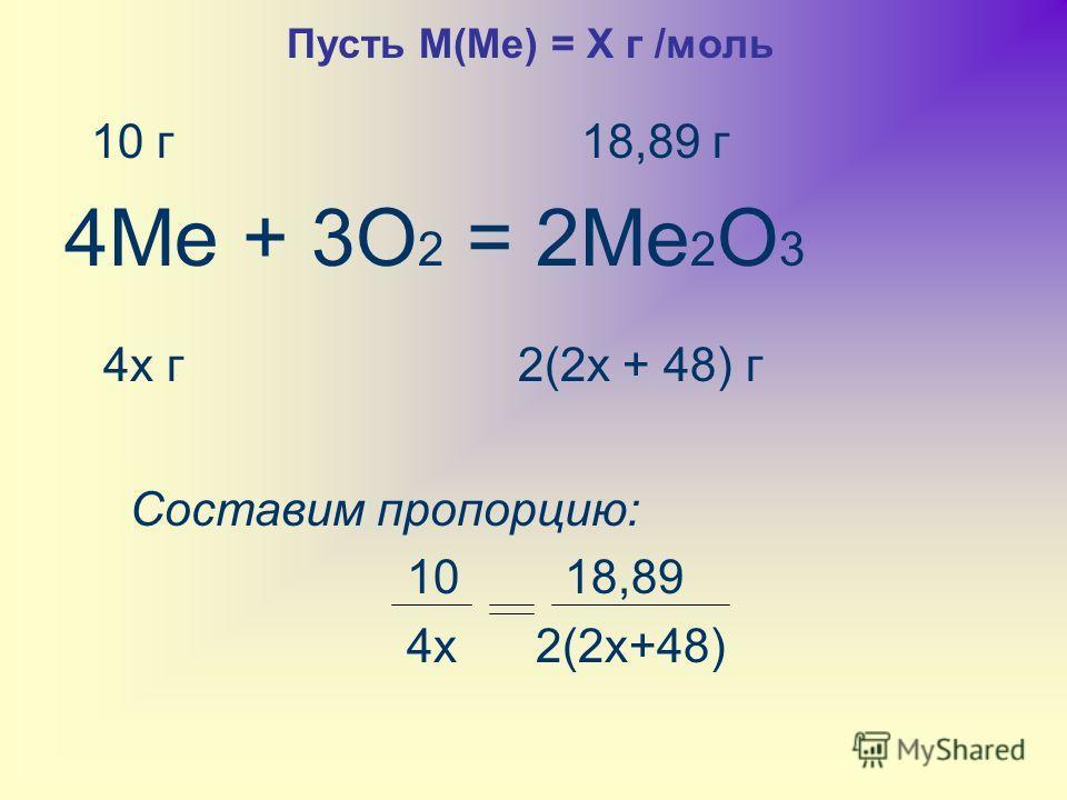 10 г 18,89 г 4Ме + 3О 2 = 2Ме 2 О 3 4х г 2(2х + 48) г Составим пропорцию: 10 18,89 4х 2(2х+48) Пусть М(Ме) = Х г /моль