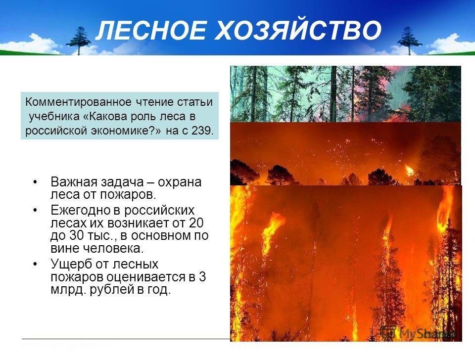 ЛЕСНОЕ ХОЗЯЙСТВО Важная задача – охрана леса от пожаров. Ежегодно в российских лесах их возникает от 20 до 30 тыс., в основном по вине человека. Ущерб от лесных пожаров оценивается в 3 млрд. рублей в год. Комментированное чтение статьи учебника «Како