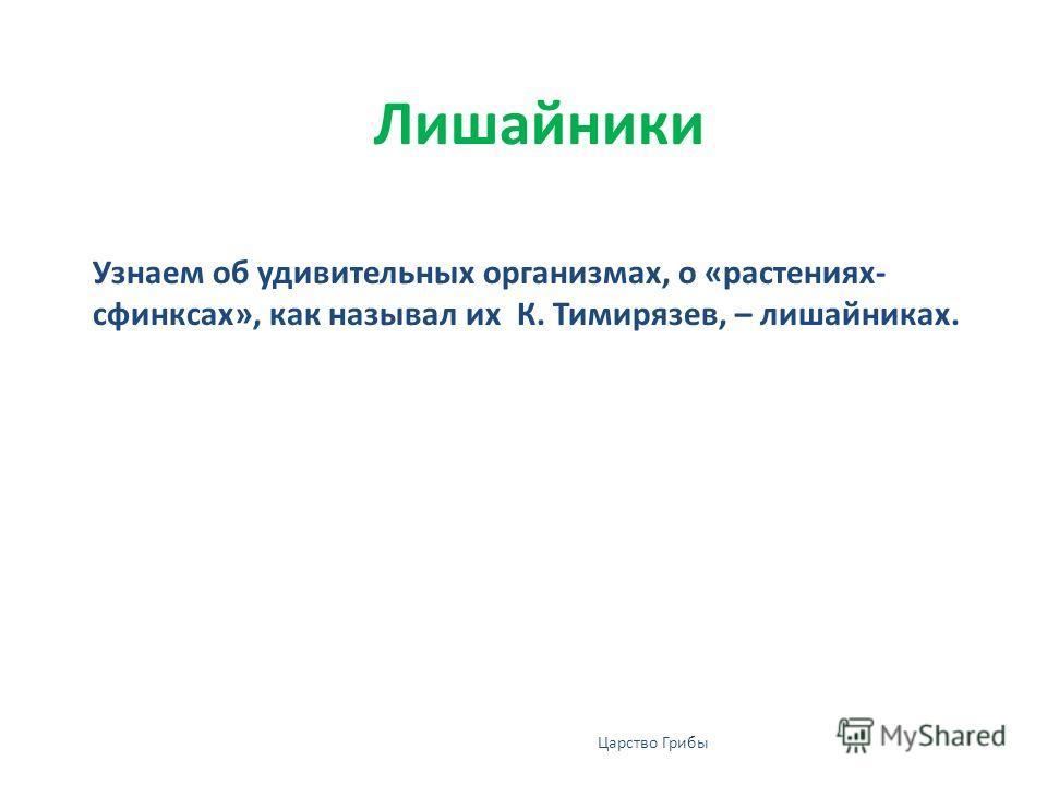 Лишайники Узнаем об удивительных организмах, о «растениях- сфинксах», как называл их К. Тимирязев, – лишайниках. Царство Грибы