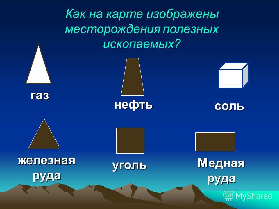 Как на карте изображены месторождения полезных ископаемых? газ нефть соль железнаяруда уголь Меднаяруда