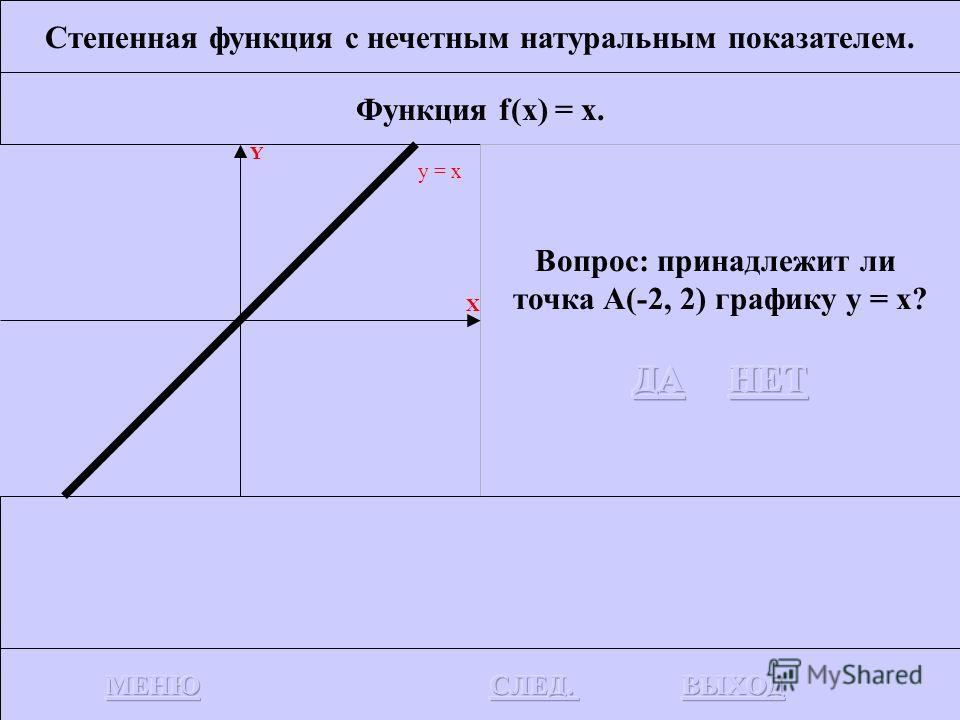 Степенная функция с нечетным натуральным показателем. Функция f(x) = x. Функции f(x) = x определена на всем R, непрерывна и строго возрастает. Y X y = x