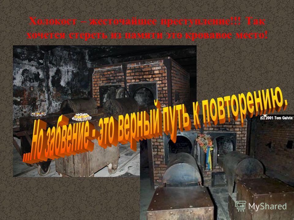 Холокост – жесточайшее преступление!!! Так хочется стереть из памяти это кровавое место!