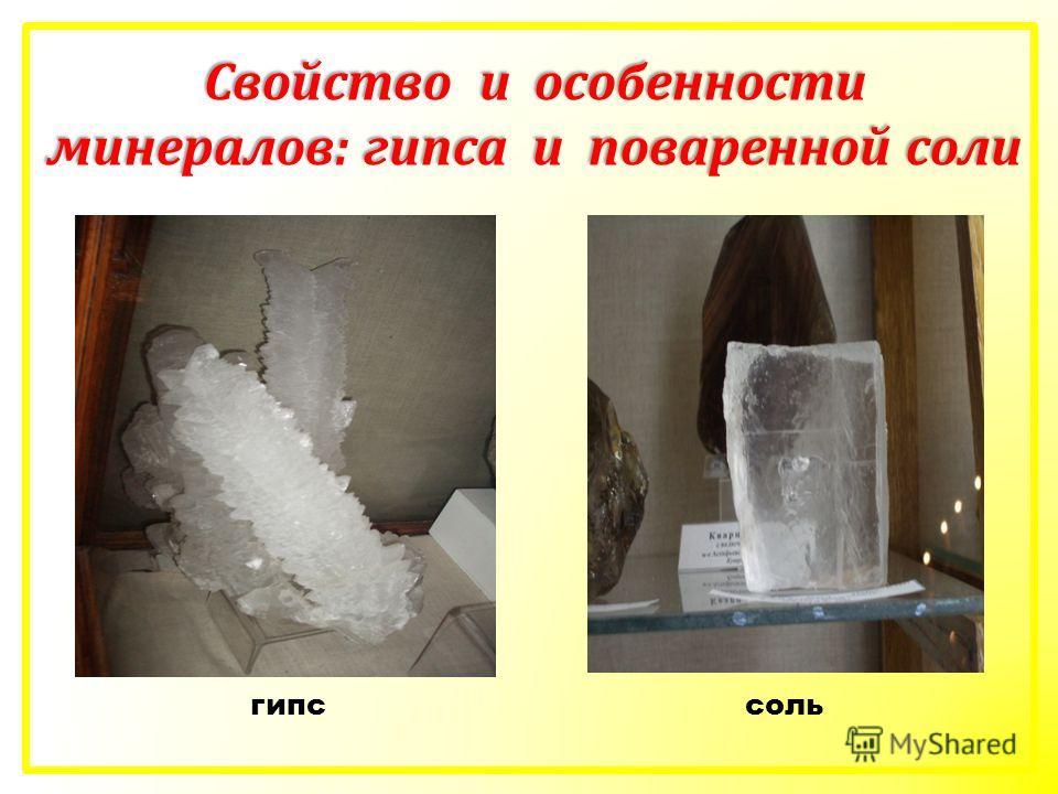 гипссоль Свойство и особенности минералов: гипса и поваренной соли
