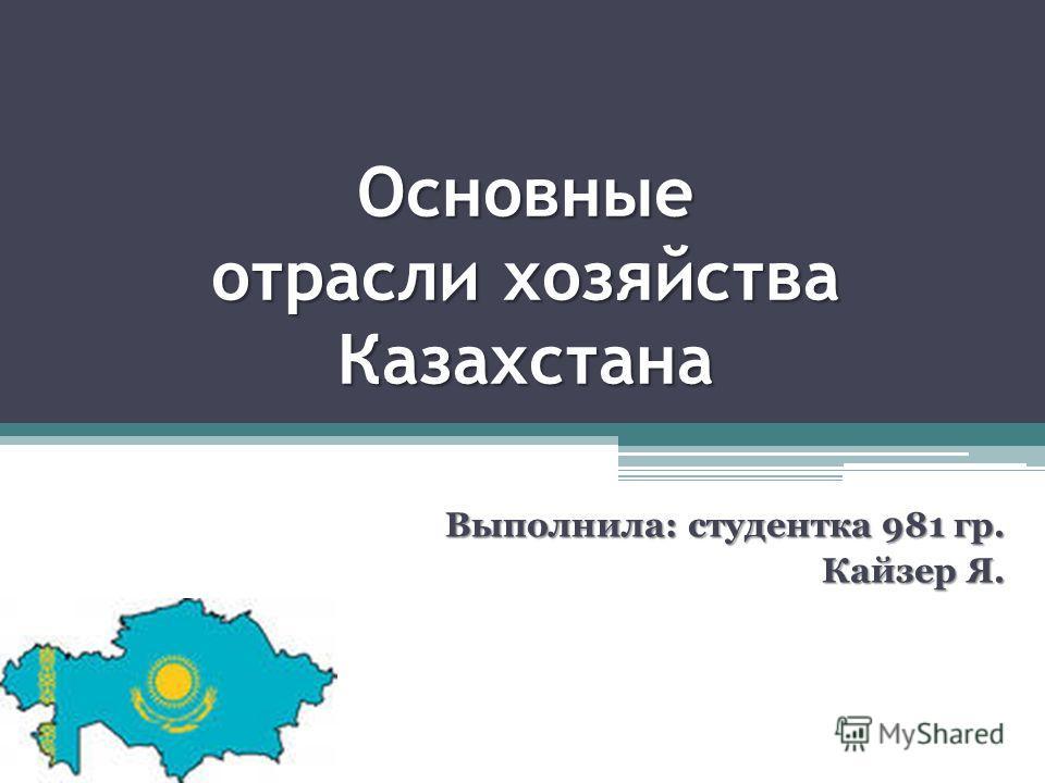 Основные отрасли хозяйства Казахстана Выполнила: студентка 981 гр. Кайзер Я. Кайзер Я.