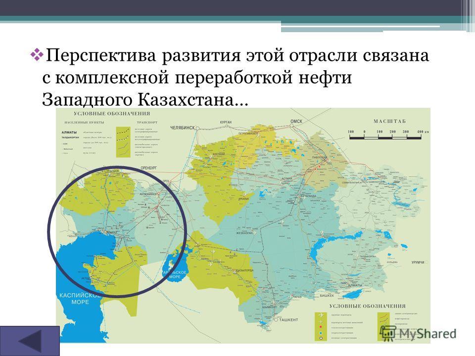 Перспектива развития этой отрасли связана с комплексной переработкой нефти Западного Казахстана…
