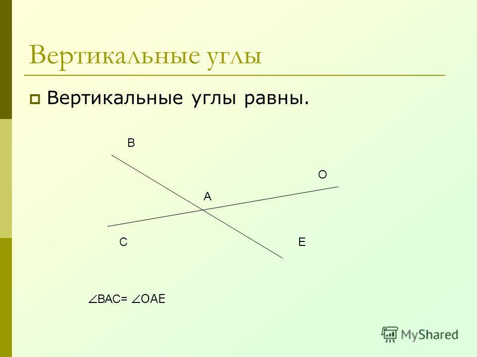Вертикальные углы Вертикальные углы равны. А В С О Е ВАС=ОАЕ