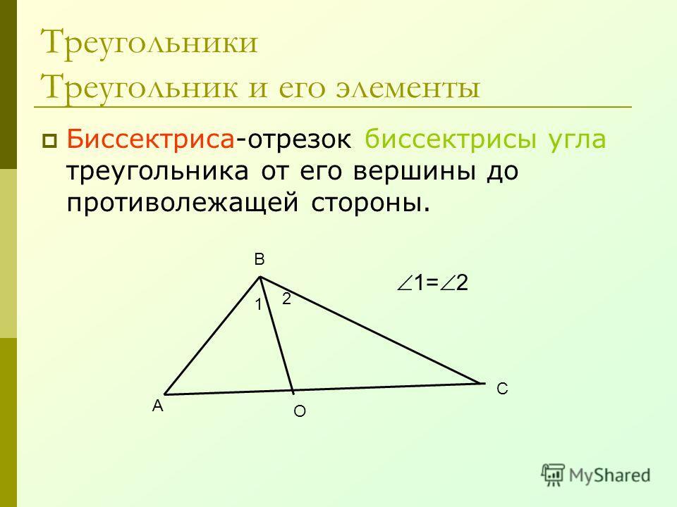Биссектриса-отрезок биссектрисы угла треугольника от его вершины до противолежащей стороны. Треугольники Треугольник и его элементы А В С О 1 2 1= 2