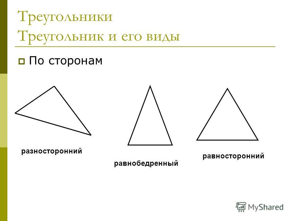 Треугольники Треугольник и его виды По сторонам разносторонний равнобедренный равносторонний
