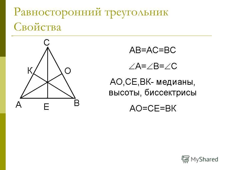 Равносторонний треугольник Свойства В равностороннем треугольнике все углы равны. В равностороннем треугольнике каждая биссектриса является медианой и высотой. В равностороннем треугольнике все три медианы равны.