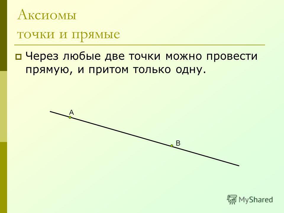 Аксиомы точки и прямые Через любые две точки можно провести прямую, и притом только одну. А В