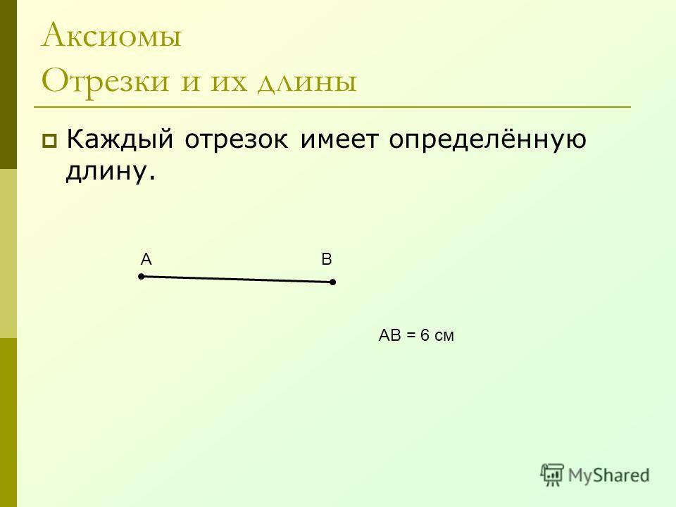 Аксиомы Отрезки и их длины Каждый отрезок имеет определённую длину. АВ АВ = 6 см