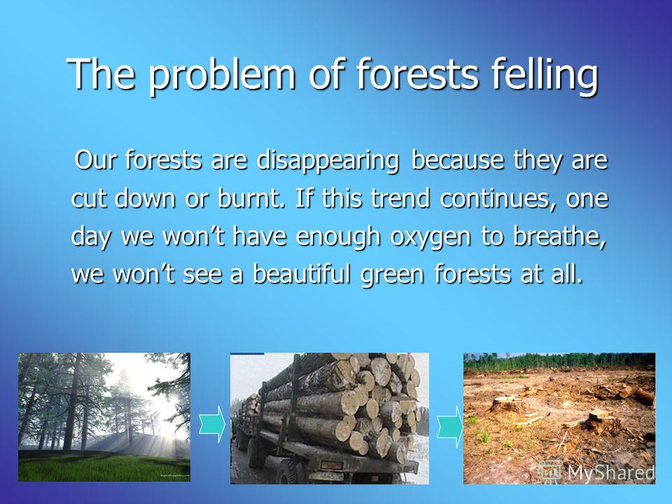 The problem of forests felling The problem of forests felling Our forests are disappearing because they are Our forests are disappearing because they are cut down or burnt. If this trend continues, one cut down or burnt. If this trend continues, one