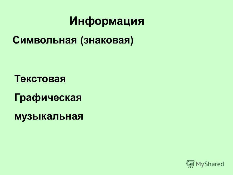 Информация Символьная (знаковая) Текстовая Графическая музыкальная
