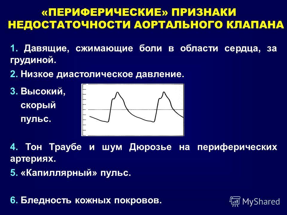 «ПЕРИФЕРИЧЕСКИЕ» ПРИЗНАКИ НЕДОСТАТОЧНОСТИ АОРТАЛЬНОГО КЛАПАНА 1. Давящие, сжимающие боли в области сердца, за грудиной. 2. Низкое диастолическое давление. 3. Высокий, скорый пульс. 4. Тон Траубе и шум Дюрозье на периферических артериях. 5. «Капиллярн