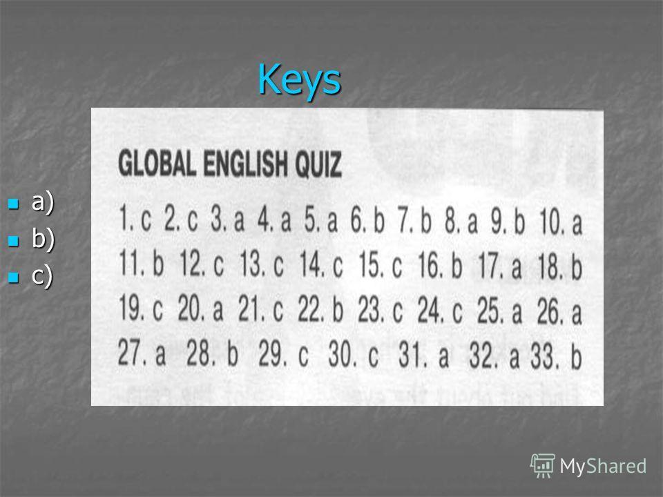 Keys a) a) b) b) c) c)