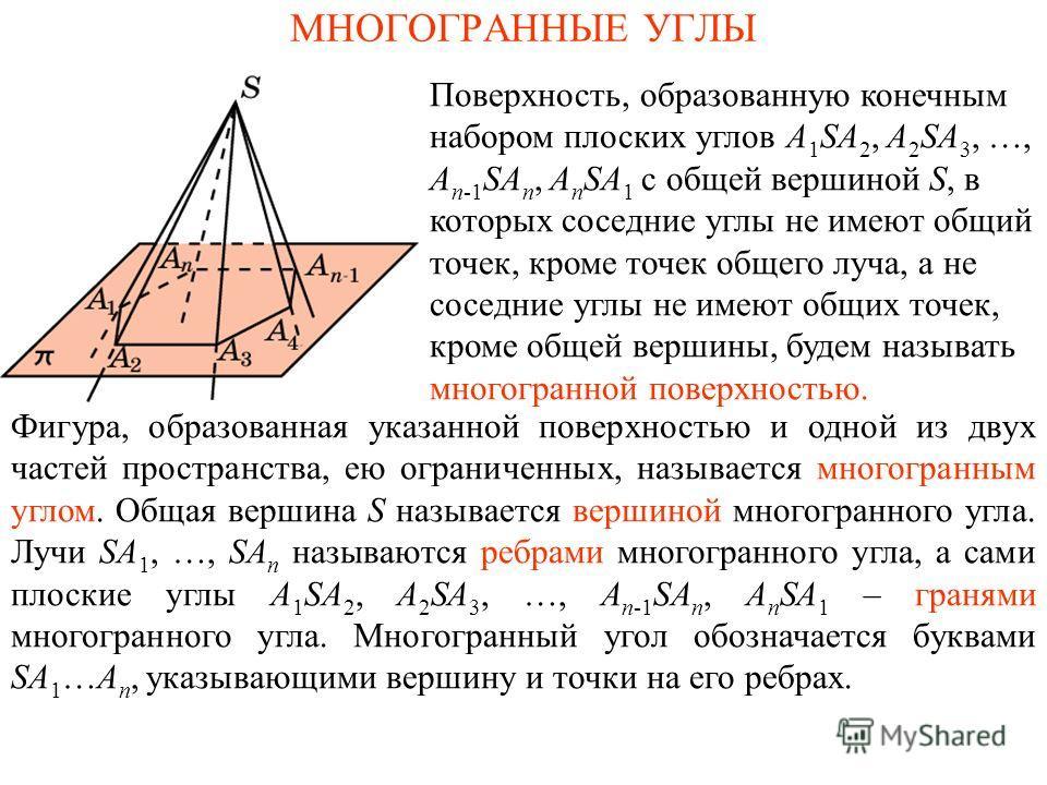 МНОГОГРАННЫЕ УГЛЫ Фигура, образованная указанной поверхностью и одной из двух частей пространства, ею ограниченных, называется многогранным углом. Общая вершина S называется вершиной многогранного угла. Лучи SA 1, …, SA n называются ребрами многогран