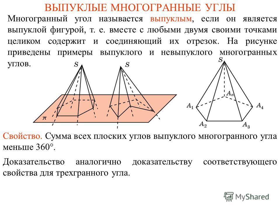 ВЫПУКЛЫЕ МНОГОГРАННЫЕ УГЛЫ Многогранный угол называется выпуклым, если он является выпуклой фигурой, т. е. вместе с любыми двумя своими точками целиком содержит и соединяющий их отрезок. На рисунке приведены примеры выпуклого и невыпуклого многогранн
