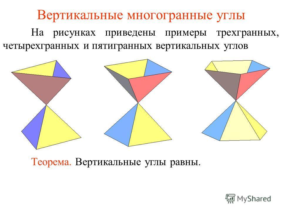 Вертикальные многогранные углы На рисунках приведены примеры трехгранных, четырехгранных и пятигранных вертикальных углов Теорема. Вертикальные углы равны.
