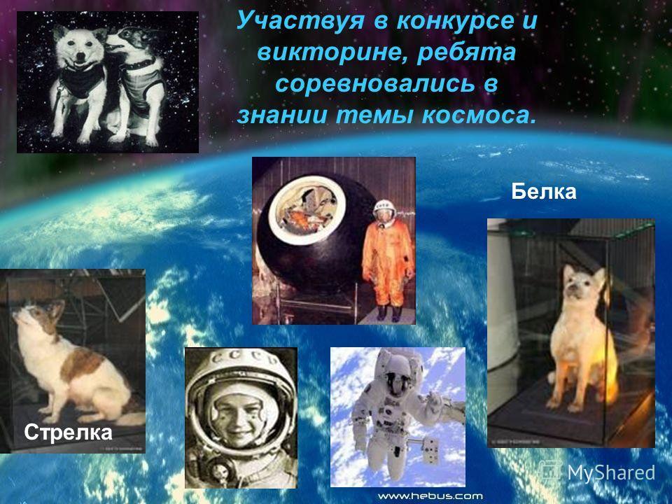 Участвуя в конкурсе и викторине, ребята соревновались в знании темы космоса. Белка Стрелка