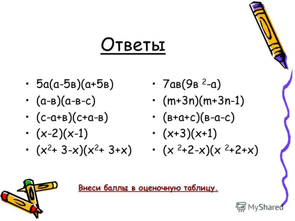 Ответы 5а(а-5в)(а+5в) (а-в)(а-в-с) (с-а+в)(с+а-в) (х-2)(х-1) (х 2 + 3-х)(х 2 + 3+х) 7ав(9в 2 -а) (m+3n)(m+3n-1) (в+а+с)(в-а-с) (х+3)(х+1) (х 2 +2-х)(х 2 +2+х) Внеси баллы в оценочную таблицу.
