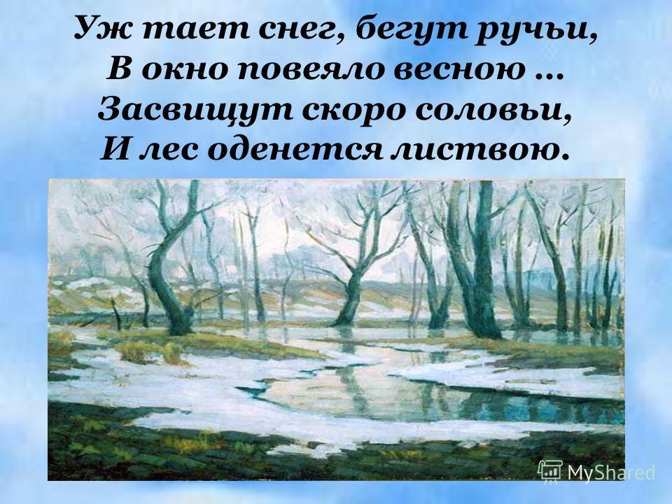 Уж тает снег, бегут ручьи, В окно повеяло весною … Засвищут скоро соловьи, И лес оденется листвою.