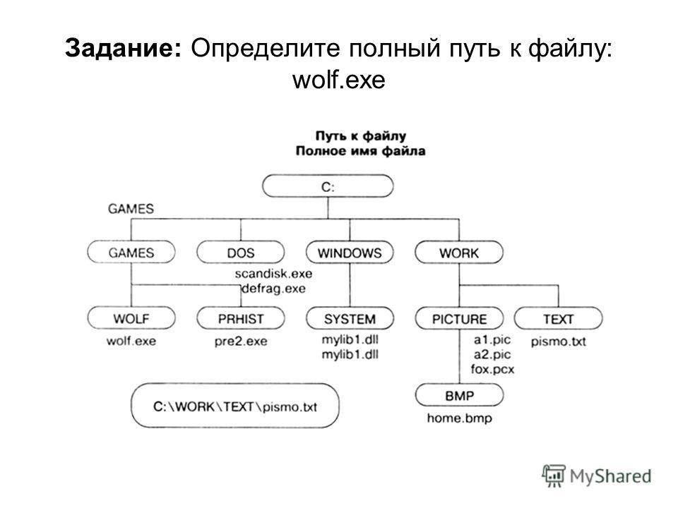 Задание: Определите полный путь к файлу: wolf.exe