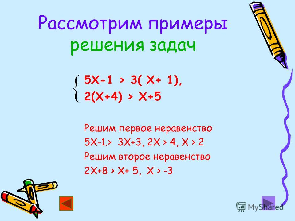 Рассмотрим примеры решения задач 5Х-1 > 3( Х+ 1), 2(Х+4) > Х+5 Решим первое неравенство 5Х-1.> 3Х+3, 2Х > 4, Х > 2 Решим второе неравенство 2Х+8 > Х+ 5, Х > -3