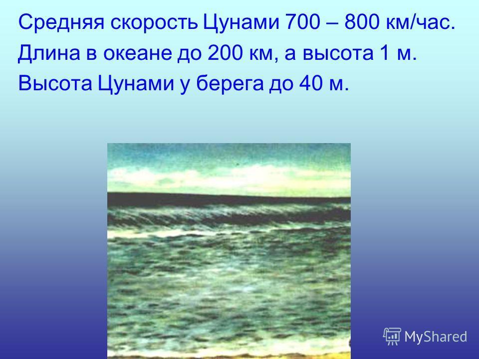 Средняя скорость Цунами 700 – 800 км/час. Длина в океане до 200 км, а высота 1 м. Высота Цунами у берега до 40 м.