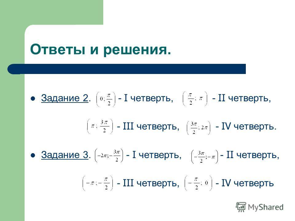 Ответы и решения. Задание 2. - I четверть, - II четверть, - III четверть, - IV четверть. Задание 3. - I четверть, - II четверть, - III четверть, - IV четверть