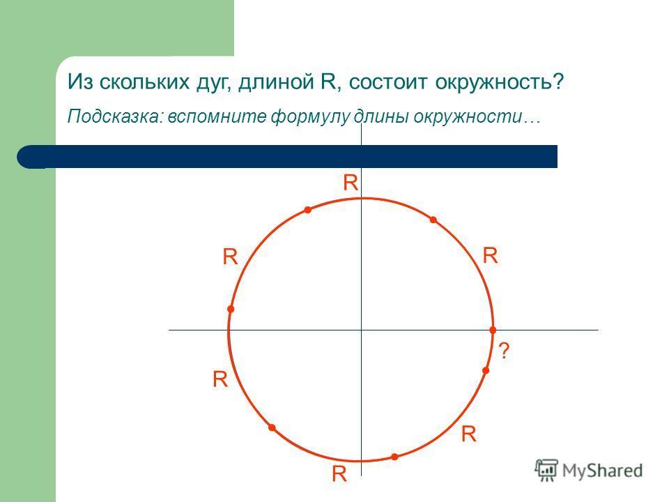 Из скольких дуг, длиной R, состоит окружность? Подсказка: вспомните формулу длины окружности… R R R R R R ?