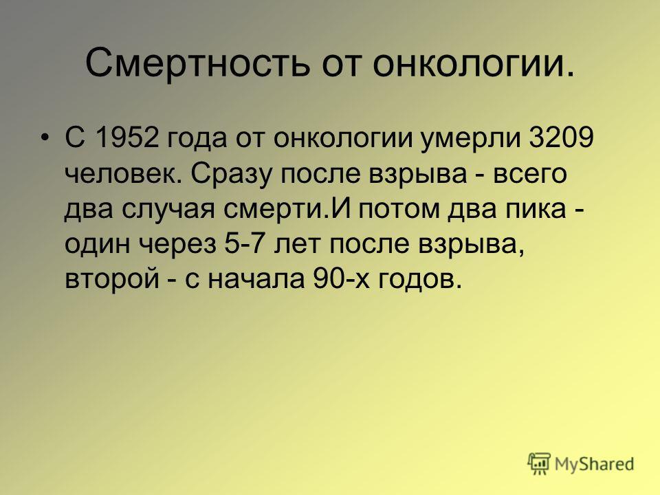 Смертность от онкологии. С 1952 года от онкологии умерли 3209 человек. Сразу после взрыва - всего два случая смерти.И потом два пика - один через 5-7 лет после взрыва, второй - с начала 90-х годов.