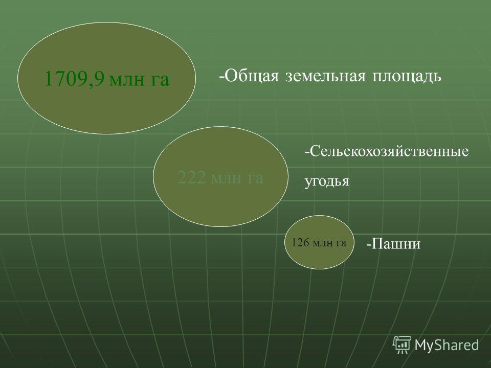 1709,9 млн га 222 млн га 126 млн га -Общая земельная площадь -Сельскохозяйственные угодья -Пашни