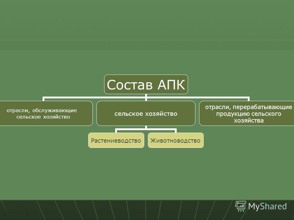 Состав АПК отрасли, обслуживающие сельское хозяйство РастениеводствоЖивотноводство отрасли, перерабатывающие продукцию сельского хозяйства